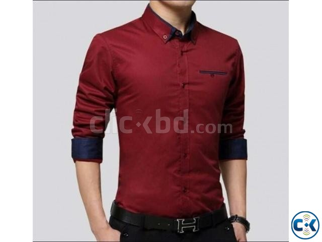 Maroon Long Sleeve Casual Shirt for Men 2 | ClickBD large image 0