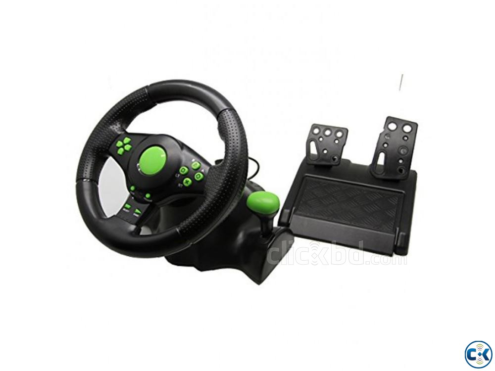 4 In 1 USB Gaming Steering Wheels With Vibration | ClickBD large image 0
