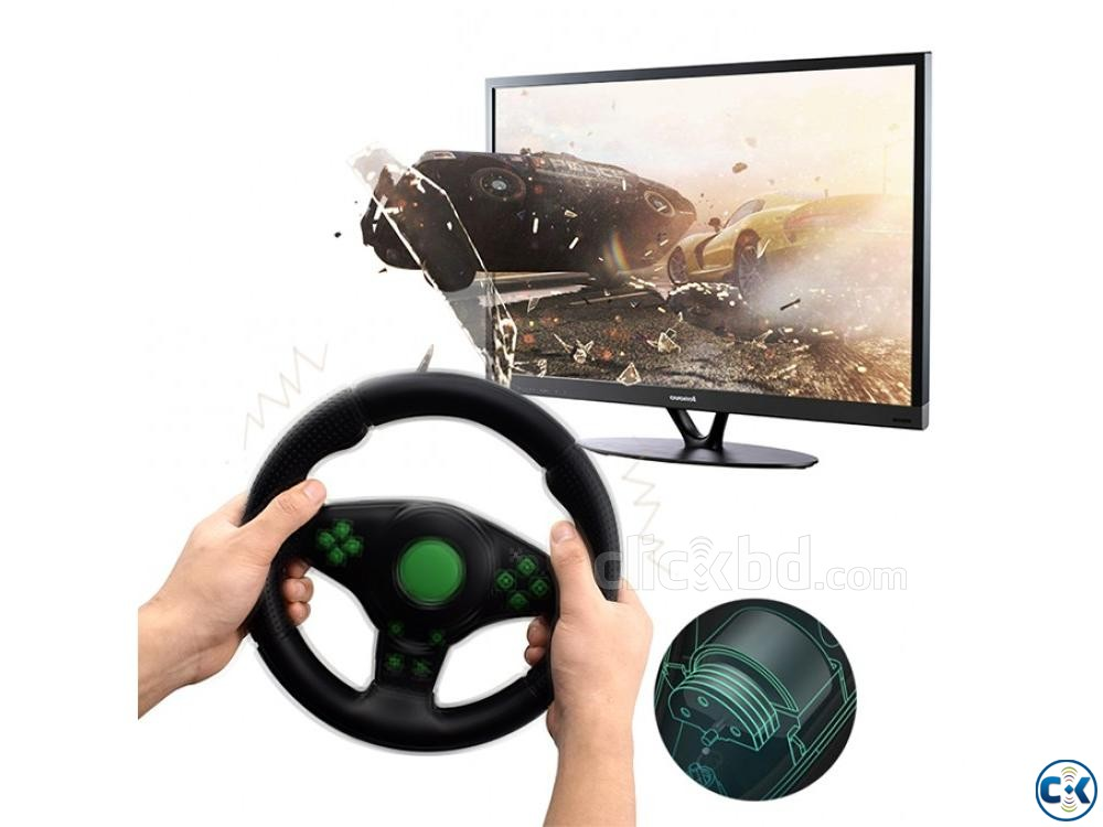 4 In 1 USB Gaming Steering Wheels With Vibration | ClickBD large image 2