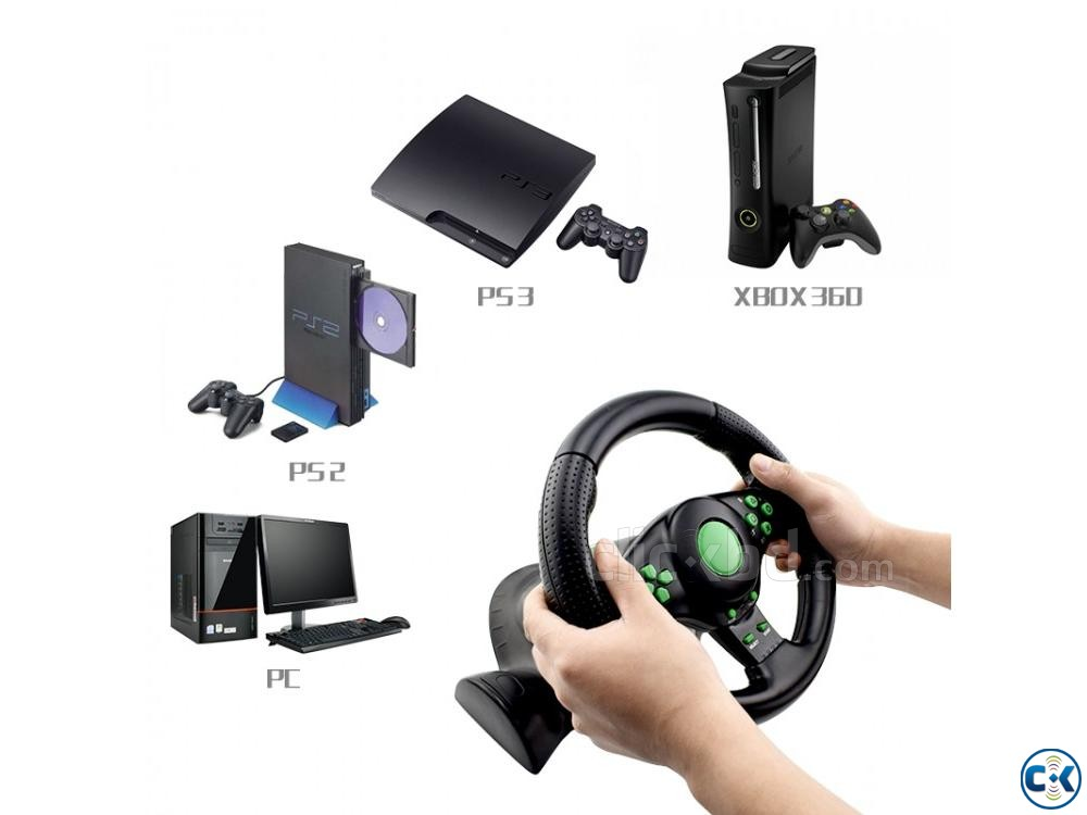 4 In 1 USB Gaming Steering Wheels With Vibration | ClickBD large image 3