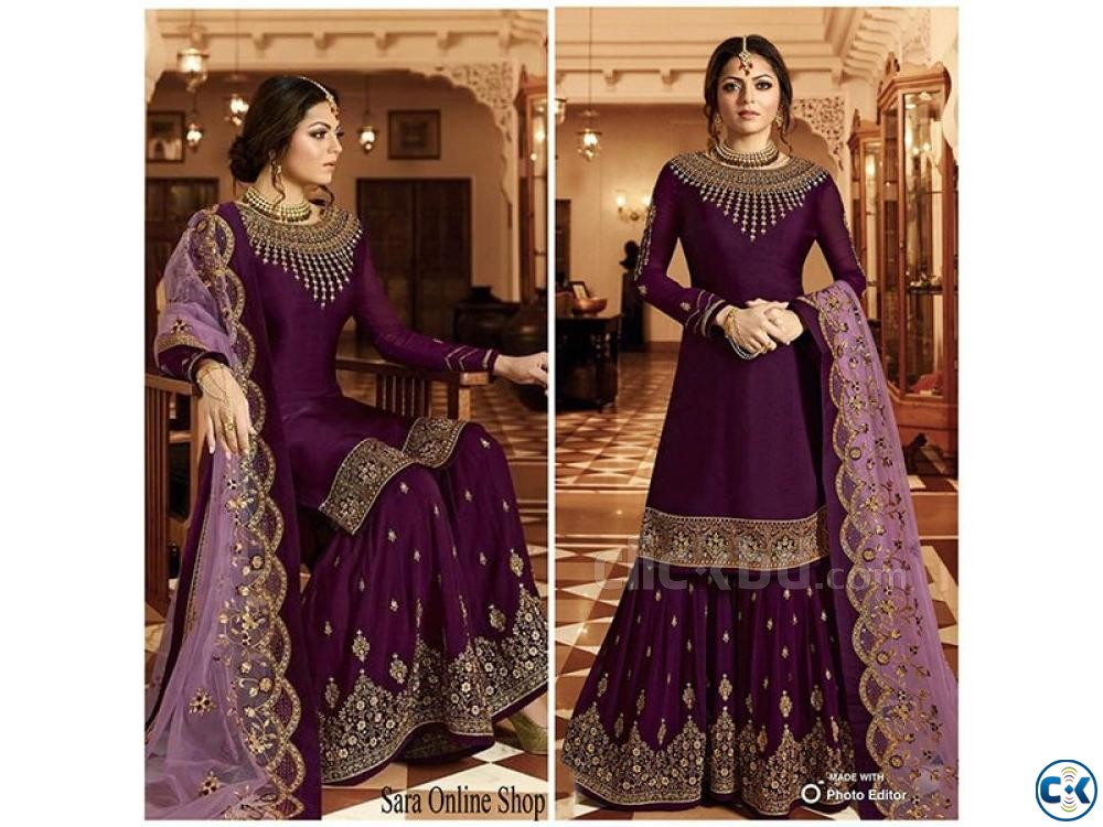 Unstitched purple Georgette embroidery work Free Size Exclus | ClickBD large image 0
