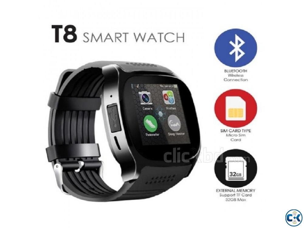T8 Smartwatch Sim Supported Bluetooth Camera | ClickBD large image 0