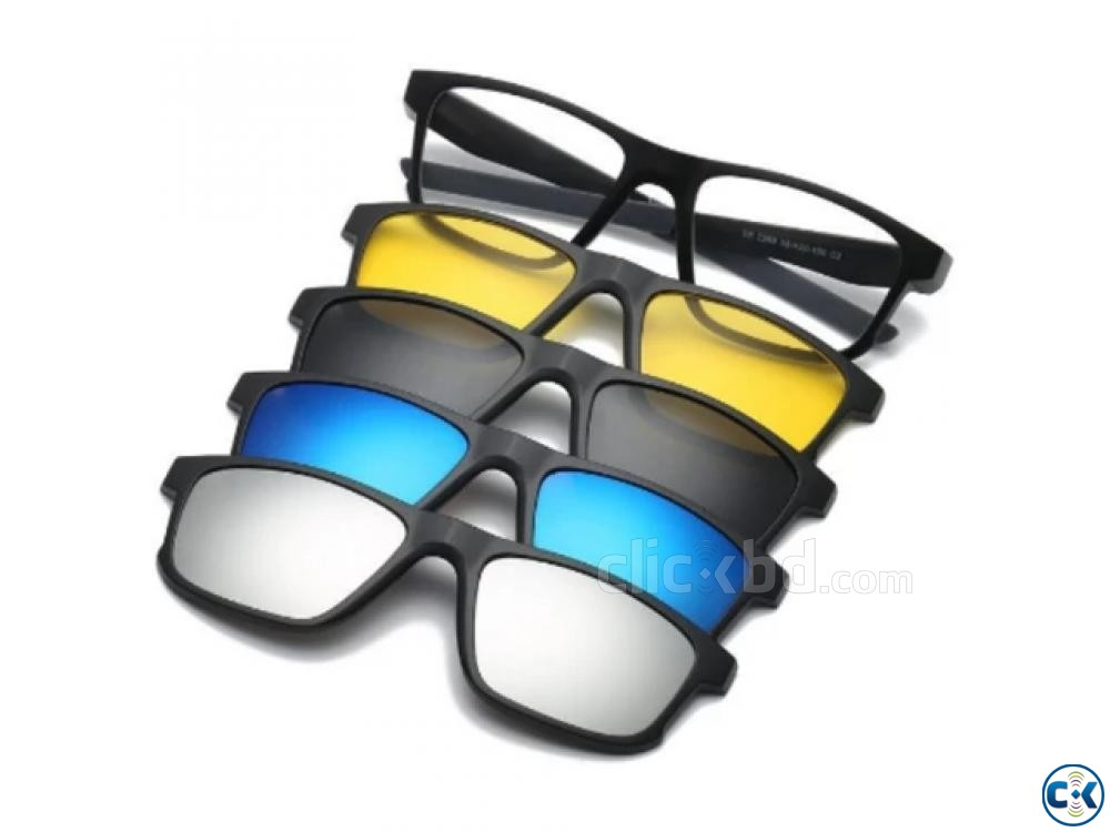 5 in 1 Magic Sunglasses Magnetic Night Vision Glasses | ClickBD large image 0