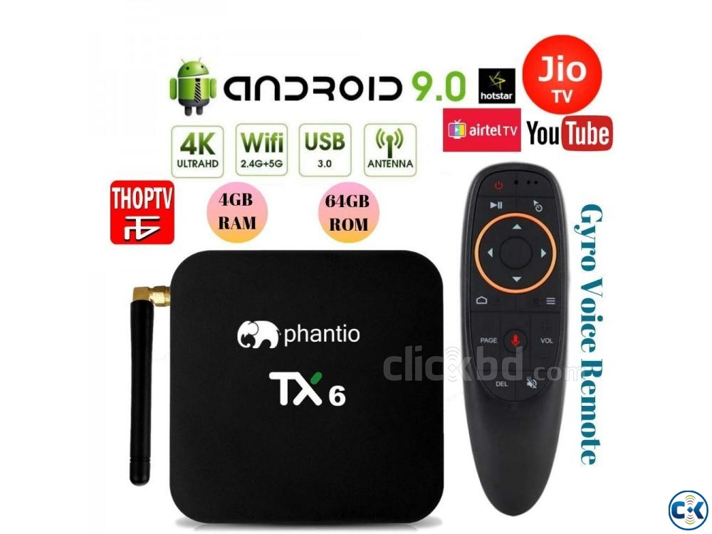 PHANTIO TX6 4GB 64GB VOICE REMOAndroid 9.0 Smart TV Box NEW | ClickBD large image 0