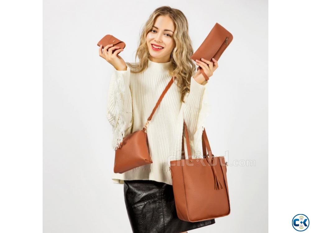 Women s Leather Bag Set 4 Bags Included  | ClickBD large image 0