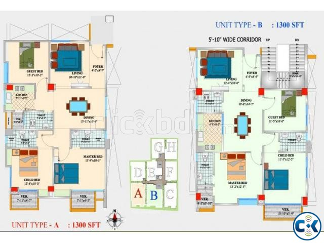 Flat for Sale In Bogura | ClickBD large image 2