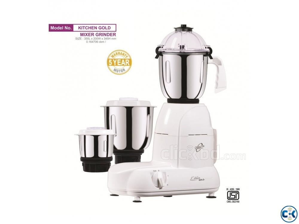 Orpat Kitchen Gold 900-Watt Mixer Grinder White  | ClickBD large image 0