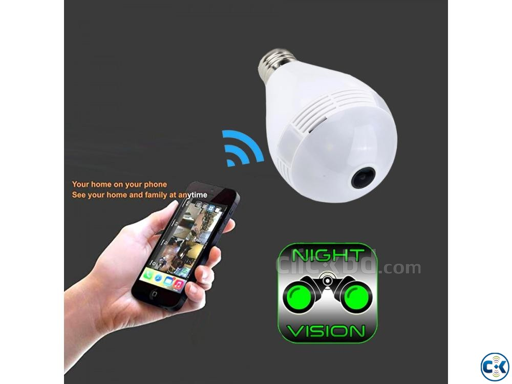 Spy Camera LED Bulb 360 Panoramic Wifi IP Cam Night Vision | ClickBD large image 0