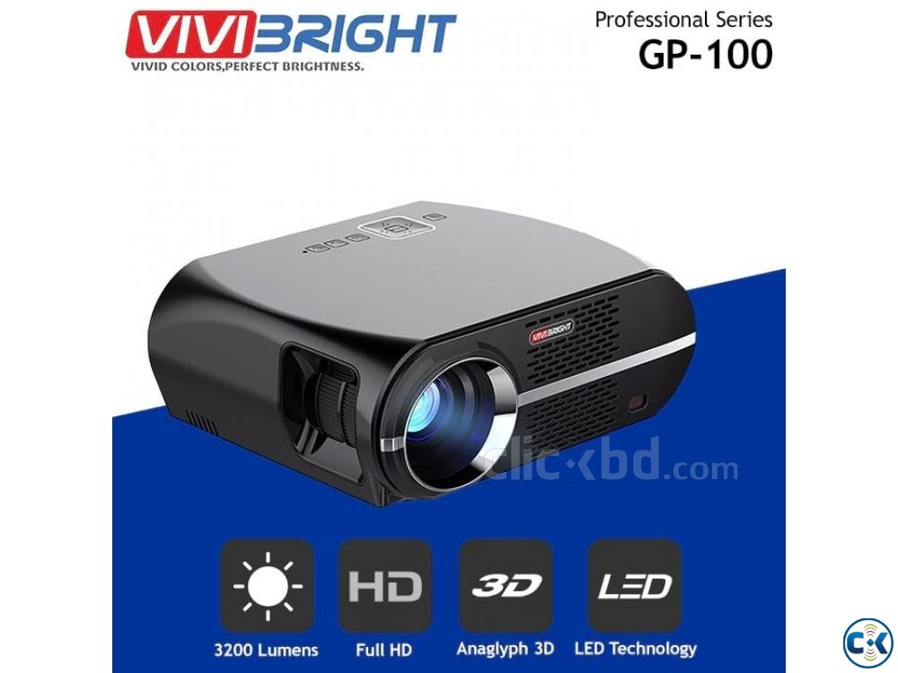 GP100 Vivibright Multimedia Projector 3D HD LED Projector | ClickBD large image 0