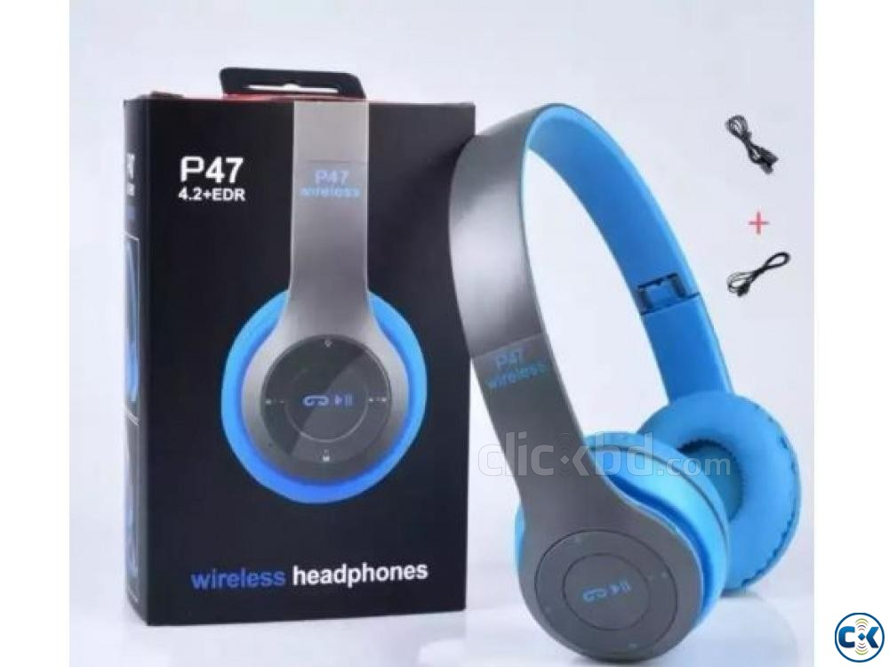 P47 - Wireless Bluetooth Headphone Multicolor | ClickBD large image 2