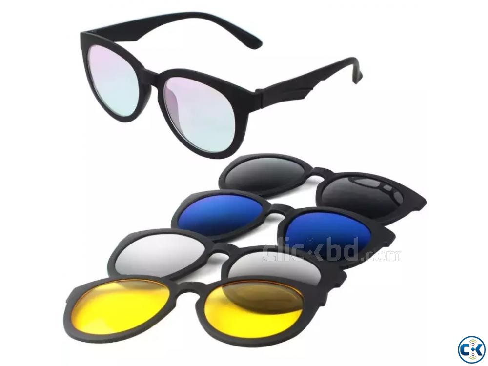 5 in 1 Magic Vision Magnetic Sunglasses with Night Vision | ClickBD large image 0