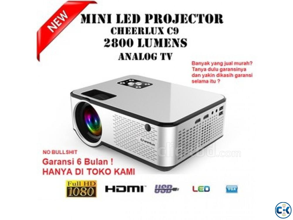 2800 Lumens Mini Led Projector C9 With Built in TV | ClickBD large image 3
