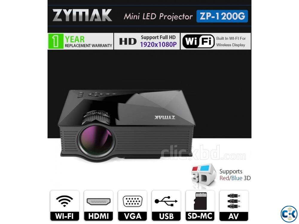 Zymak WiFi Multimedia Mini Projector ZP1200G 3D HD Projector | ClickBD large image 0
