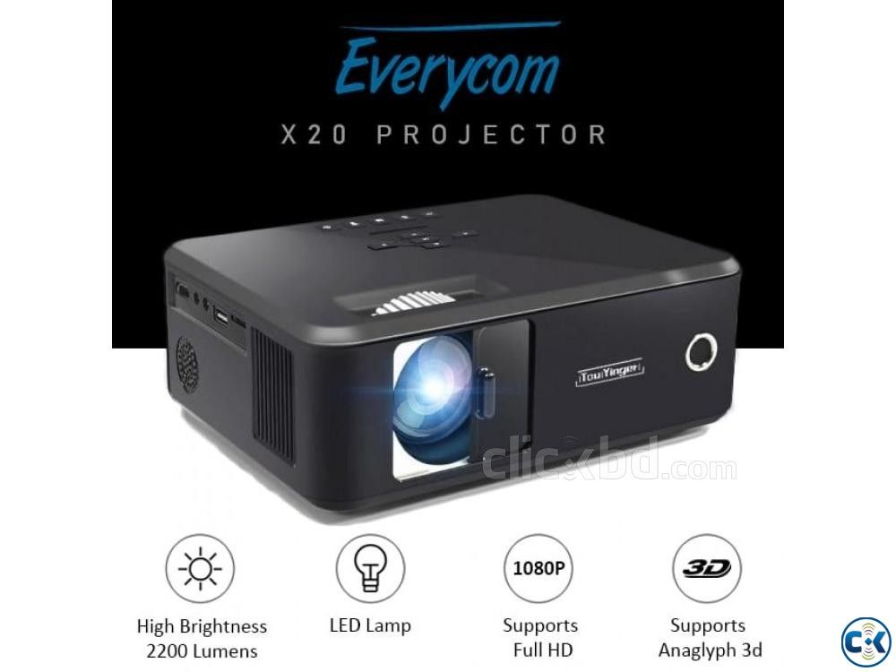 Everycom X20 Multimedia Projector 3D HD Mini Projector X20 | ClickBD large image 0
