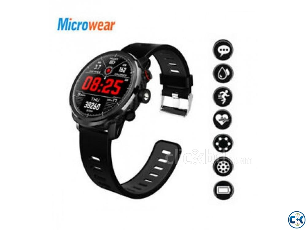 Microwear L5 Smartwatch Water-proof Heart Rate BP | ClickBD large image 0