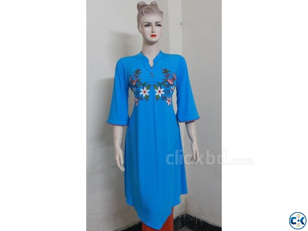Embroidery Printed Single Casual Kameez For Woman | ClickBD large image 0
