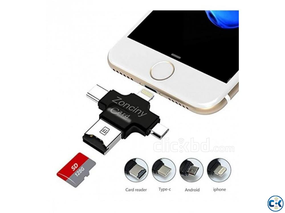 4 in 1 OTG Card Reader for iphone samsung oppo | ClickBD large image 0