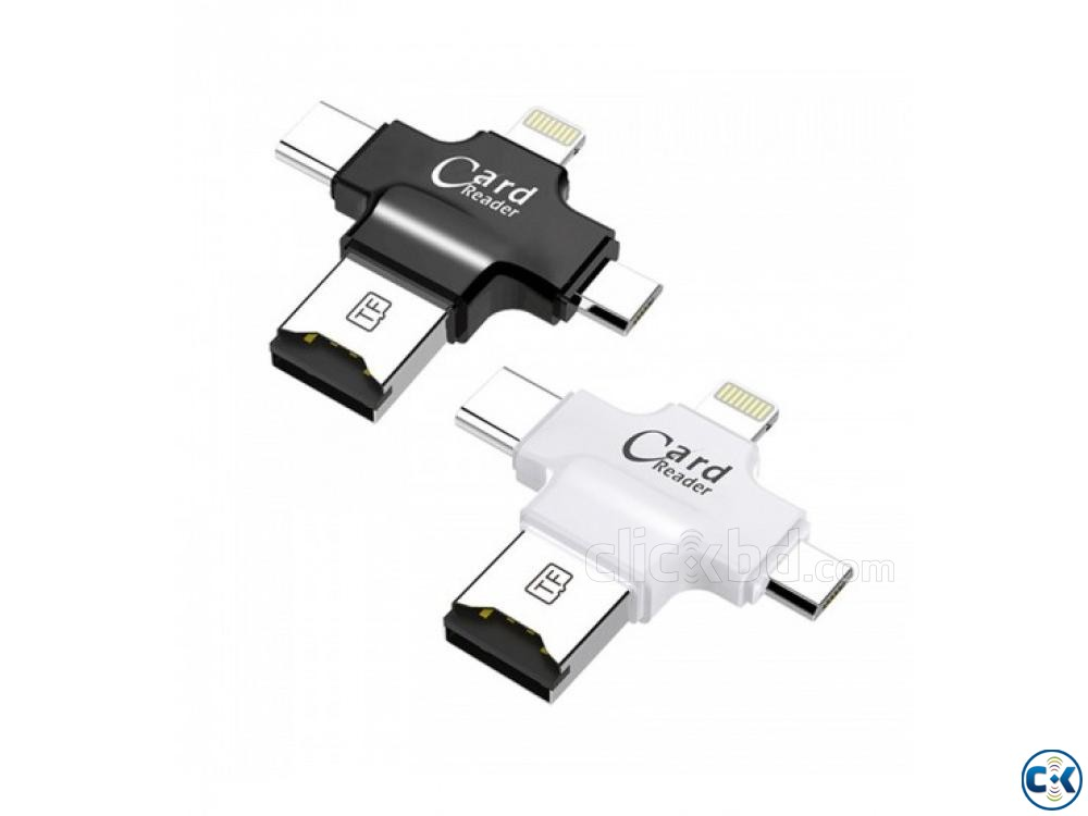 4 in 1 OTG Card Reader for iphone samsung oppo | ClickBD large image 1