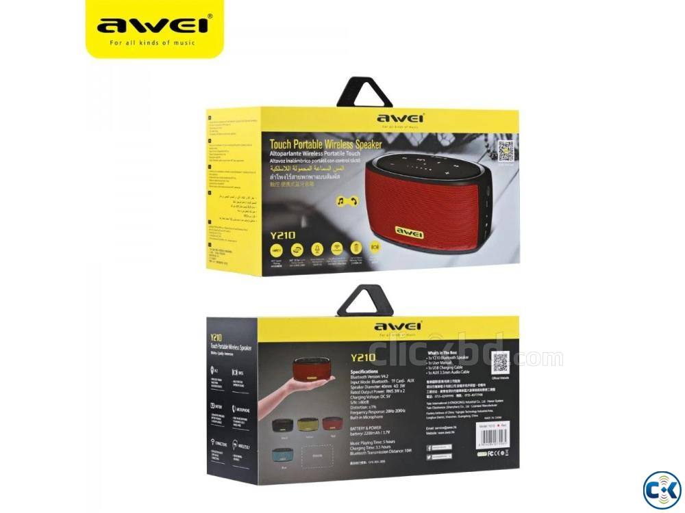 Original Awei Y210 Wireless Bluetooth Speaker | ClickBD large image 0