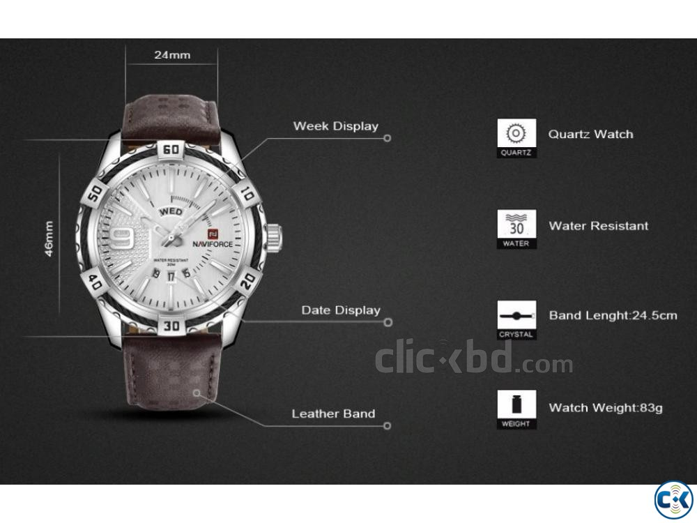 NAVIFORCE Military Waterproof Sports Men Watches | ClickBD large image 1