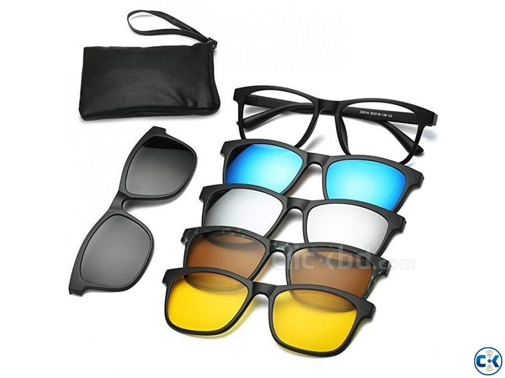 6 in 1 Magnetic Clip Polarized UV Protection Sunglasses | ClickBD large image 0