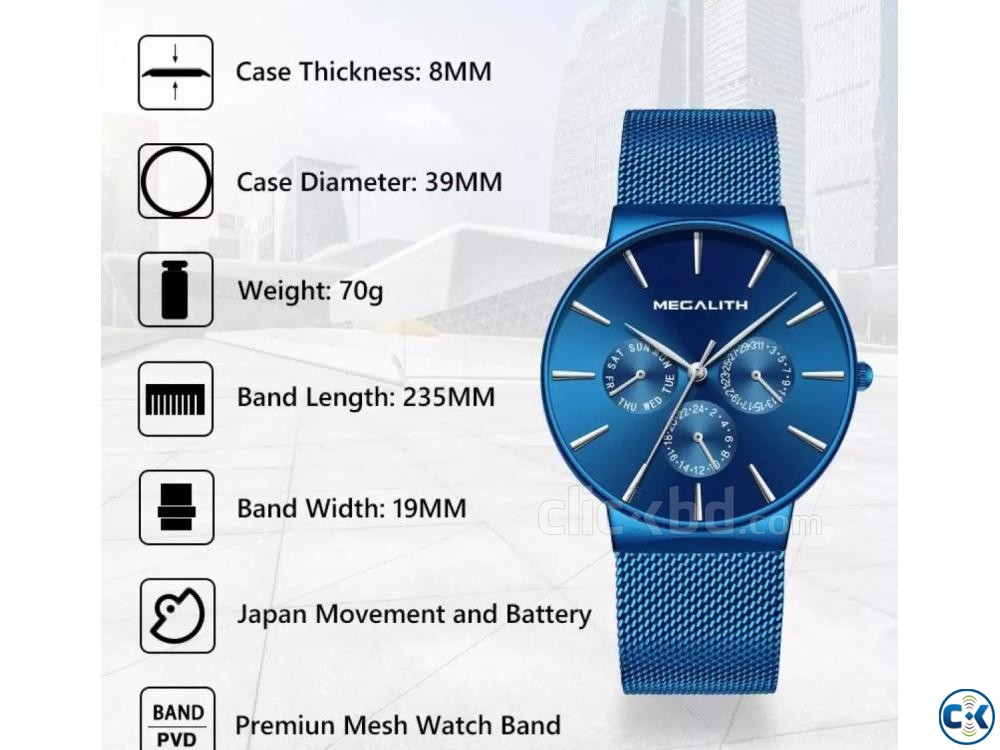 Megalith Blue goddess Slim watch | ClickBD large image 2