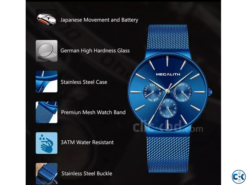 Megalith Blue goddess Slim watch | ClickBD large image 4