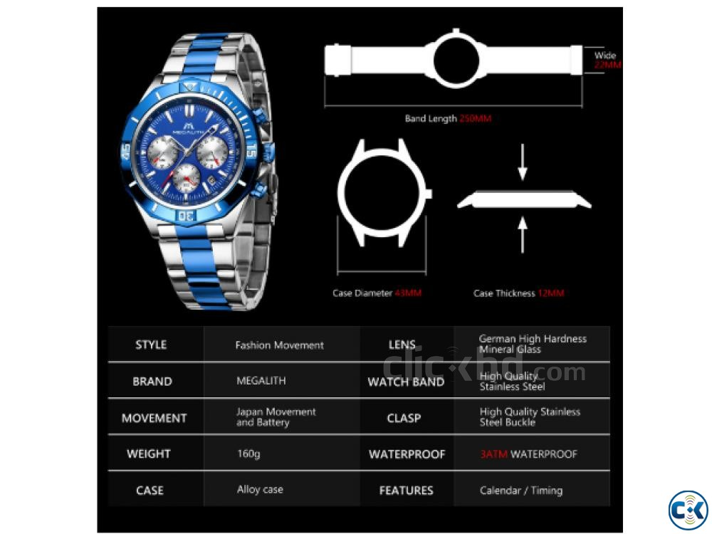Megalith Blue Dial Luxury Watch | ClickBD large image 1