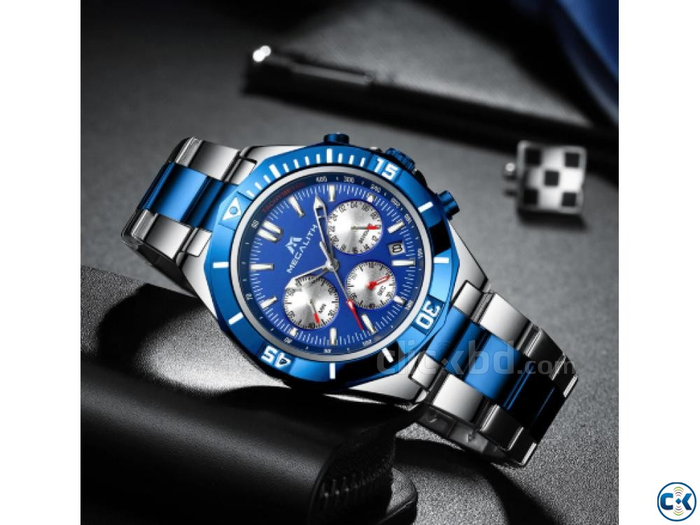 Megalith Blue Dial Luxury Watch | ClickBD large image 2