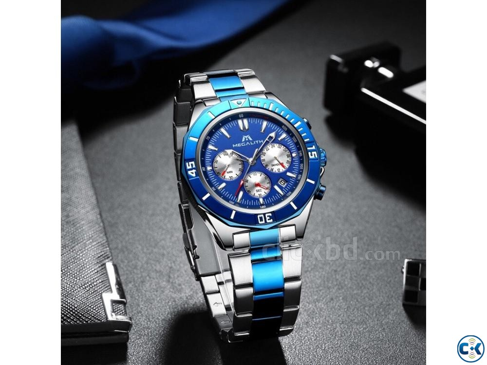 Megalith Blue Dial Luxury Watch | ClickBD large image 4