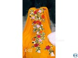 Yellow Embroidery Single Unstiched Kameez for Women 3 piece