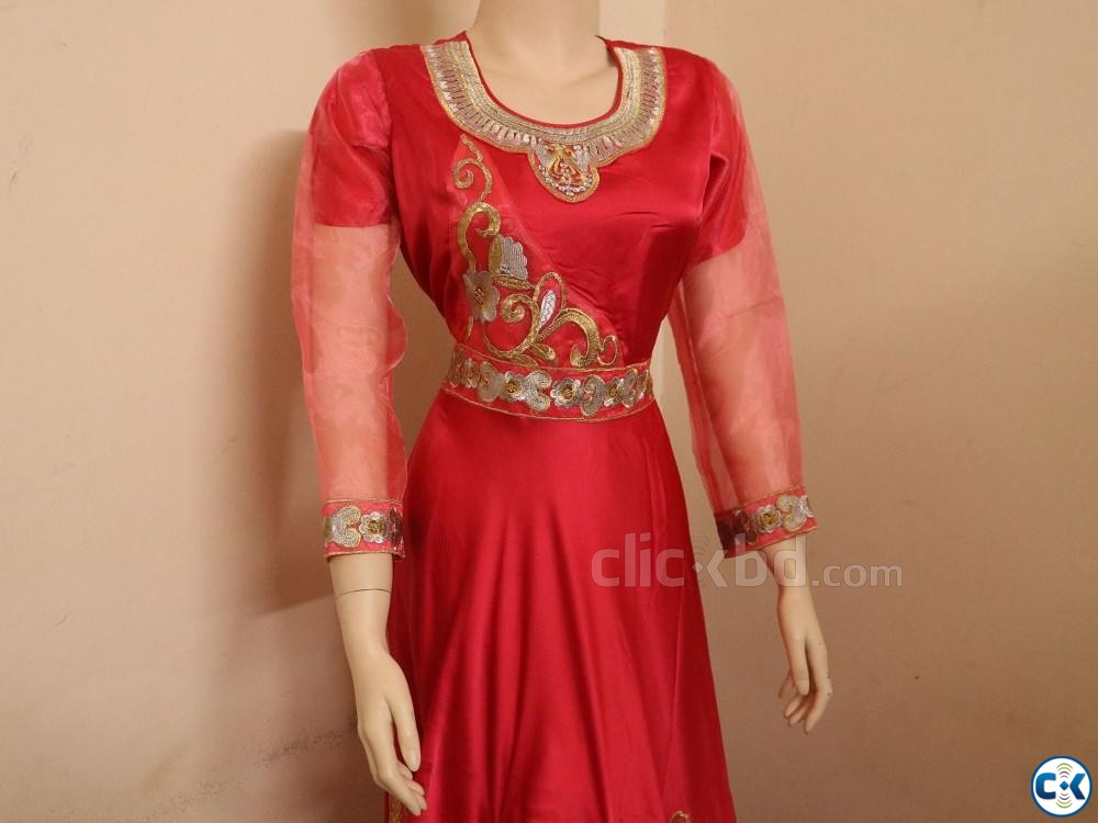 Exclusive Embroidery Party Gown Dress For women | ClickBD large image 1