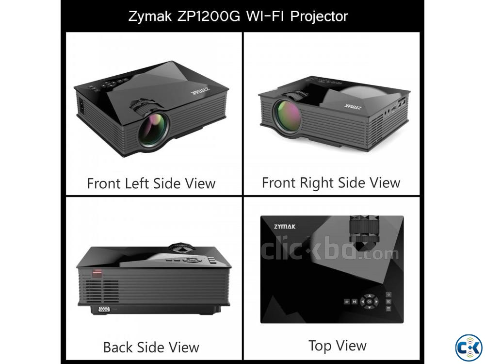 Zymak ZP1200G WiFi Projector 3D HD Mini Projector | ClickBD large image 1