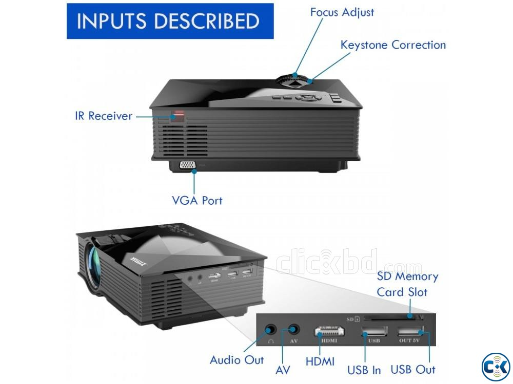 Zymak ZP1200G Projector 3D HD Projector Multimedia Projector | ClickBD large image 2