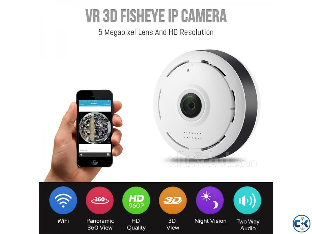 Wifi Mini IP Camera 3D VR Panoramic 360 Fisheye IP Camera | ClickBD large image 0