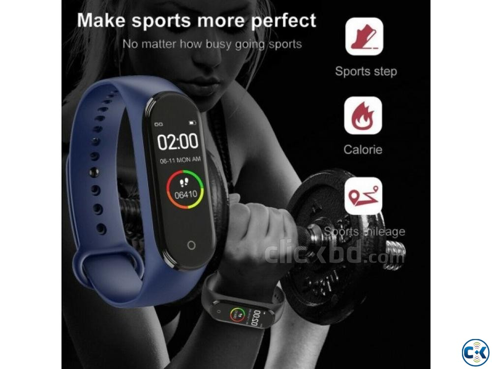 M4 Pro Smart Watch Fitness Tracker Smart Band Waterproof Sma | ClickBD large image 1