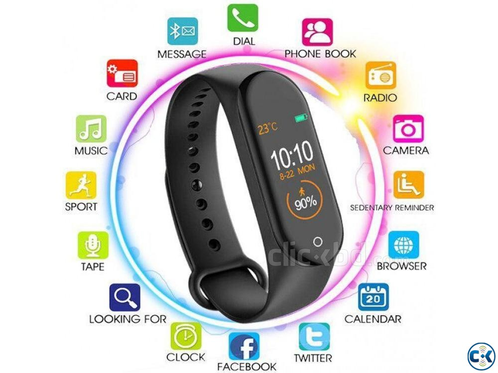 M4 Pro Smart Watch Fitness Tracker Smart Band Waterproof Sma | ClickBD large image 2