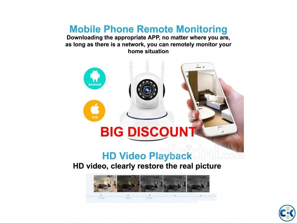 Wifi IP Camera V380 3 Antenna High Quality HD Security Cam | ClickBD large image 0