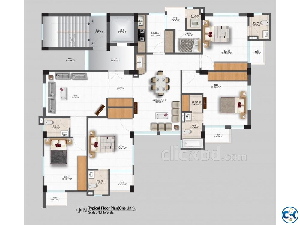 2250 sft single unit flat Bashundhara R A | ClickBD large image 2