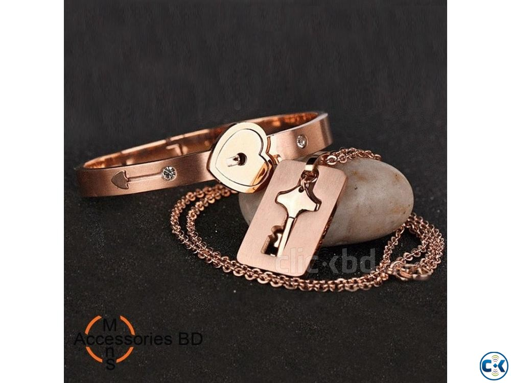 Couple Jewelry Sets Lock Key - Bracelet Locket | ClickBD large image 0