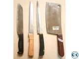 Set of Knives including meat chopper