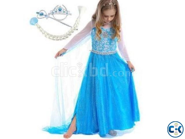 Frozen Kids Costume-Blue S Size | ClickBD large image 0
