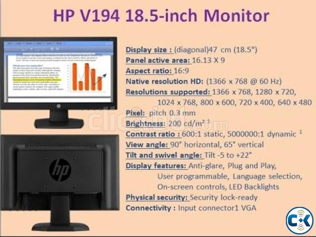 HP V194 18.5 inch LED Backlight Monitor | ClickBD large image 1
