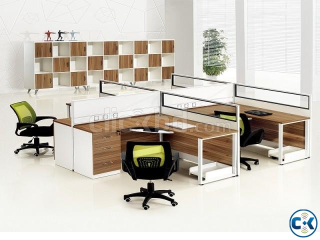 4 person office workstation office design office furniture  | ClickBD large image 0