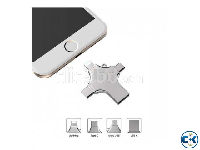4 in 1 Pen-Drive 32GB Metal Body OTG Pendrive USB 3.0 Androi | ClickBD large image 0
