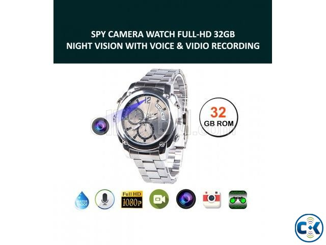 Spy Camera Watch HD Waterproof 32GB Memory Video with Voice | ClickBD large image 0