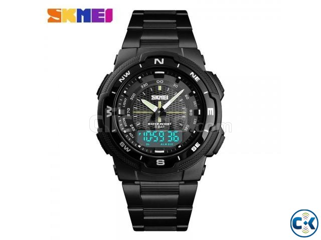 Skmei 1370 Men Digital Stainless Steel 5ATM Waterproof Wrist | ClickBD large image 1