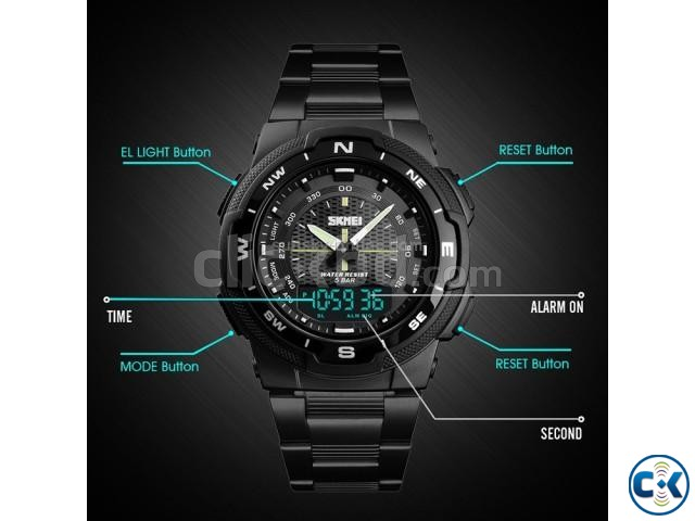 Skmei 1370 Men Digital Stainless Steel 5ATM Waterproof Wrist | ClickBD large image 3