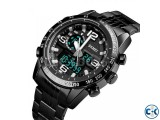 SKMEI 1453 Watch Luxury Men Stainless Steel Dual Disaplay