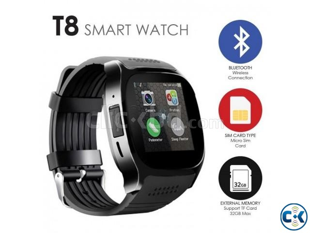 T8 Smartwatch Full Touch Single Sim | ClickBD large image 1